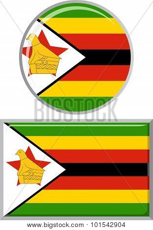 Zimbabwean round and square icon flag. Vector illustration.