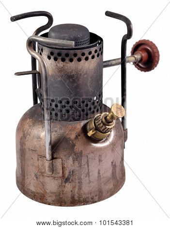 Old Camping Stove On A White