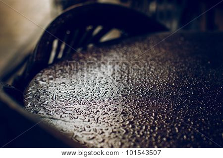 Rain Drops On A Table, After The Rain