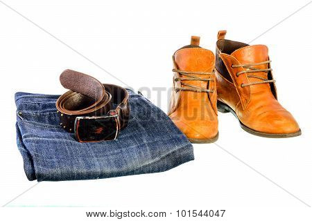 Fashion trend - jeans leather shoes leather belt with buckle on white background