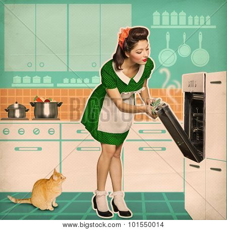 Pin up young woman cooking in an oven.Retro kitchen room on old paper poster