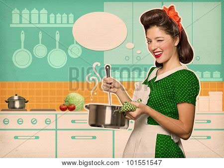 Young Housewife Cooking Soup In Her Kitchen Room With Speech Bubble