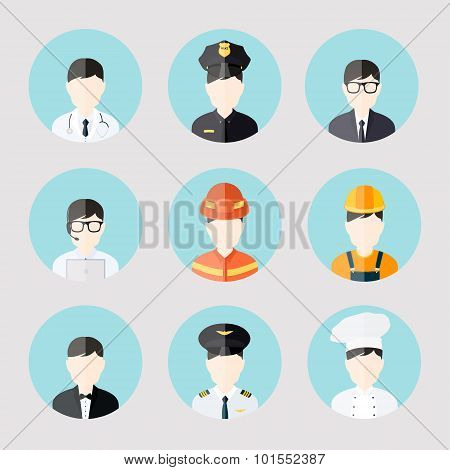Avatar Business Users Flat Icons Set Of Doctor Policeman Businessman Admin Cook Isolated Vector Illu