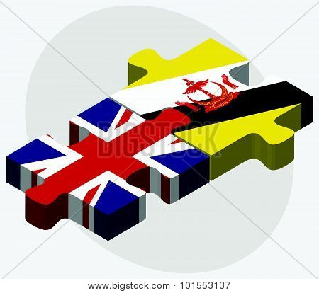 United Kingdom and Brunei Darussalam Flags in puzzle isolated on white background. poster