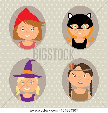 Vector Illustration of gute little girls portraits in halloween costume. Little Red Riding Hood, Pocahontas, Black cat and Witch. Halloween trick or treat illustration.