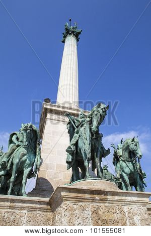 A view of the magnificent column in Heroes Square in Budapest Hungary. poster