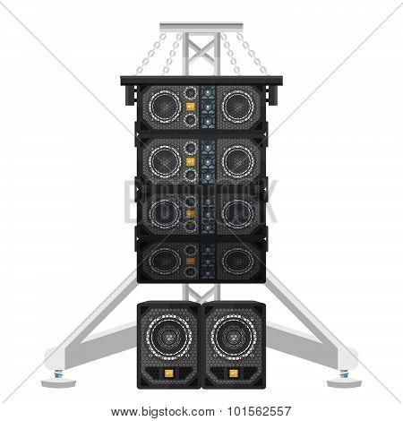 Line Array Concert Acoustics On Truss Suspension Illustration.