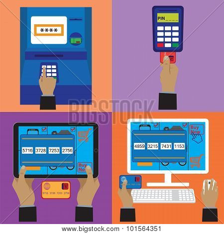 Various payment methods. Credit plastic card online payment ATM terminal. Elements for design. poster