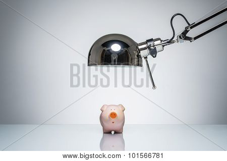 Lighting Up Pink Piggy Bank With Desk Lamp