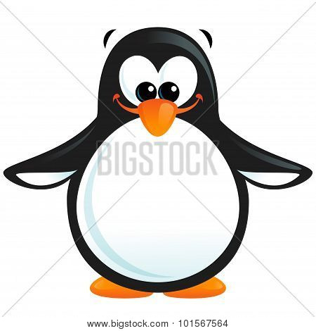 Happy Cute Cartoon Smiling Black White Penguin With Orange Beak