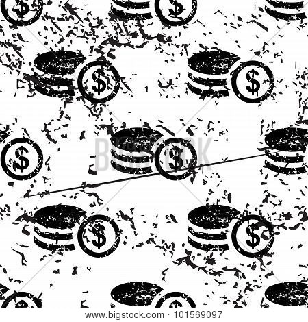 Dollar rouleau pattern, grunge, monochrome
