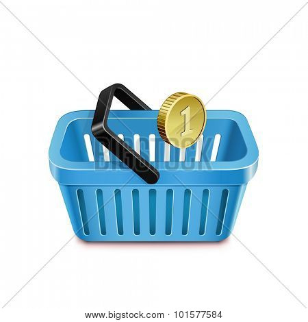 Shopping basket and coin. Purchasing power parity. Vector illustration