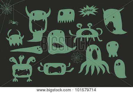 Halloween Cartoon Green Monsters - Halloween-inspired set of simple gloppy gooey green monsters, hand drawn, doodle style illustration