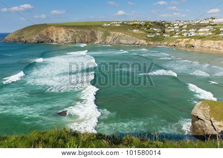 Beautiful surfing beach near Newquay of Mawgan Porth north Cornwall England uk on a summer day