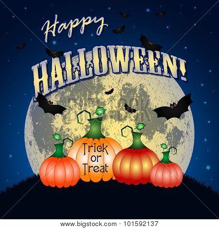 Festive Illustration On Theme Of Halloween. Moon In Dark Night