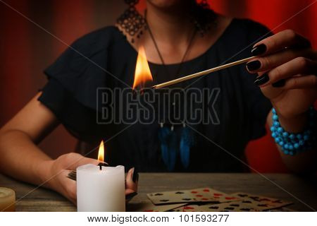 Witch - fortune teller on color background poster