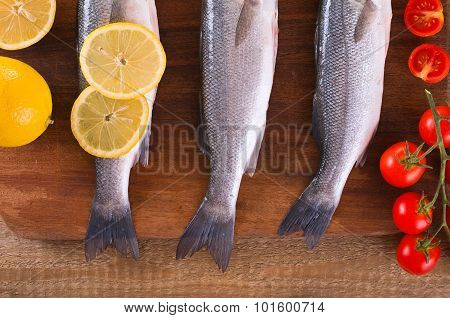Uncooked sea bass.