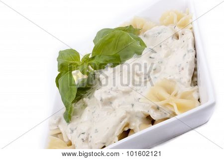 Farfalle With Chicken In Mushrooms And Herbs Sauce