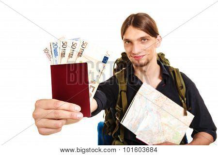 Man Tourist Backpacker Holding Money And Passport.