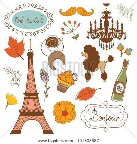 Autumn in Paris. Elegant set with Eiffel tower flowers birds   cupcakes and other graphic elements.