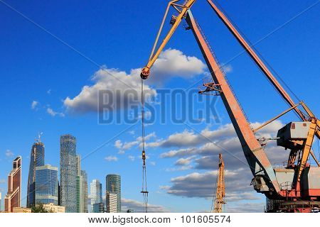 Port Crane And Skyscrapers In Moscow City
