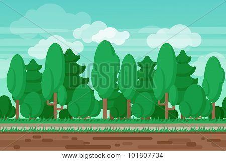 Game seamless summer landscape forest background