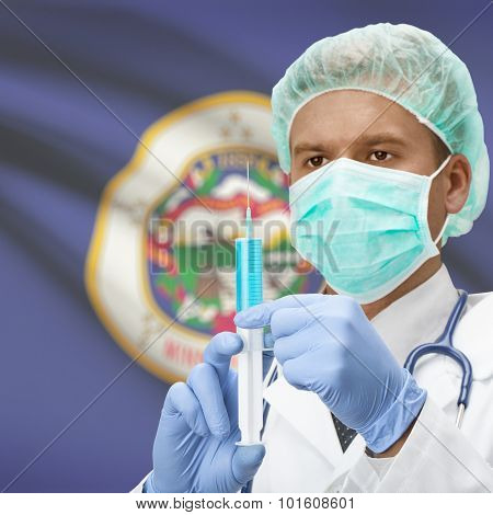 Doctor With Syringe In Hands And Us States Flags On Background Series - Minnesota