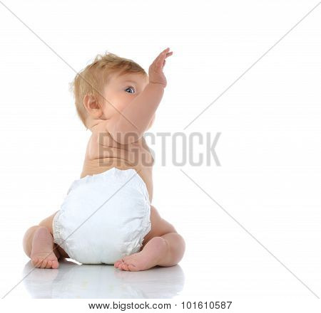 6 Month Infant Child Baby Toddler Sitting With Raised Hand Up