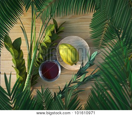 Symbols of the Jewish holiday Sukkot with palm leaves and glass wine