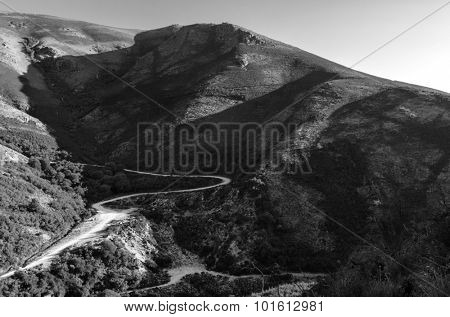 scenic view of sunset mountains at Peneda-Geres National Park in northern Portugal.