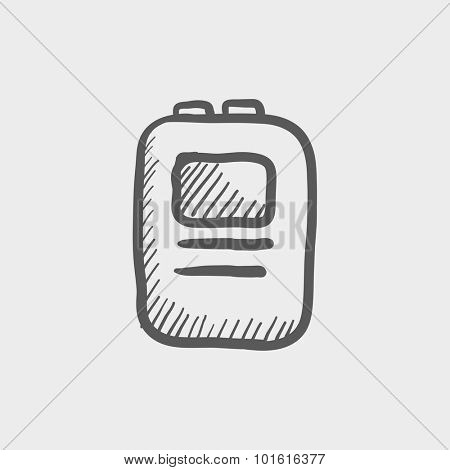 Heart defibrillator sketch icon for web, mobile and infographics. Hand drawn vector dark grey icon isolated on light grey background.