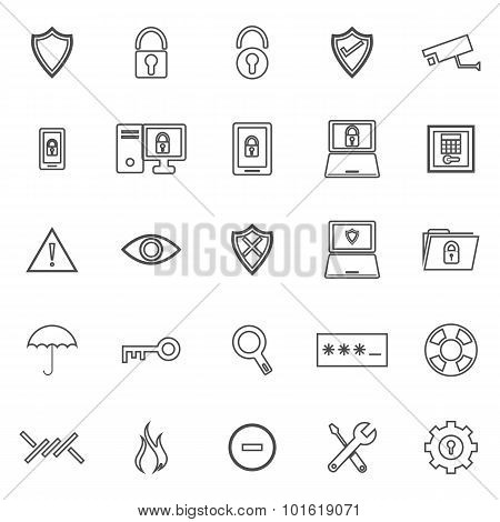 Security Line Icons On White Background