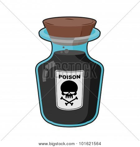 Bottle With Poison. Magic Vintage Bottle With A Black Potion. Skull Sticker. Life Threatening. Glass