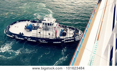 Tugboat In Hawaiian Harbor Near Lahaina, Maui