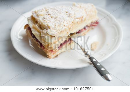 Slice Of Mille Feuille Cake On Plate With Fork, Selective Focus