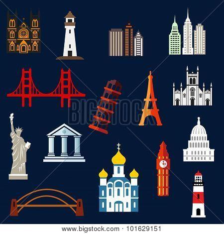World travel landmarks flat icons