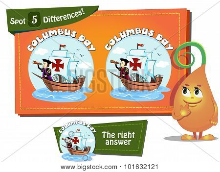 Find 5 Differences Columbus Day