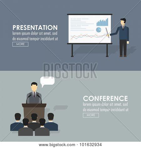 Public Speaking Flat Icons Set Of Business Presentation Political Debates Figure Speech Isolated Vec