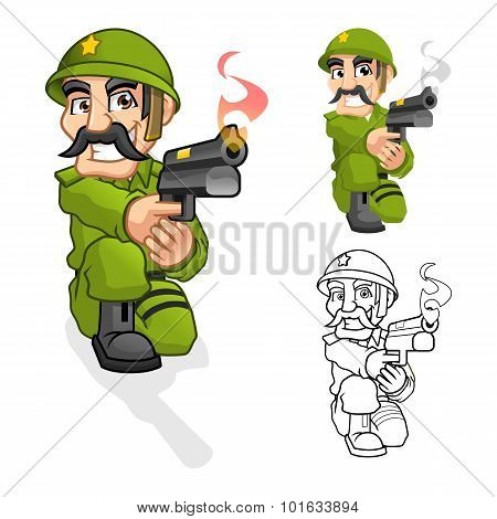 Captain Army Cartoon Character Aiming a Handgun with Shoot Pose