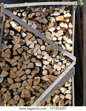 Pile Of Firewood To The Wood Oven Pizzeria