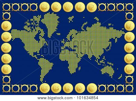 Abstract graphic World map of gold round dots and 20 currency