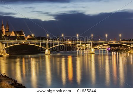 View On Basel In Switzerland In The Evening