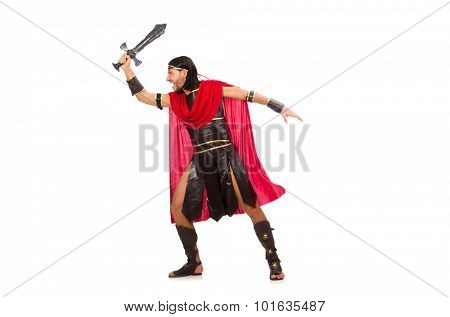Gladiator posing with sword isolated on white