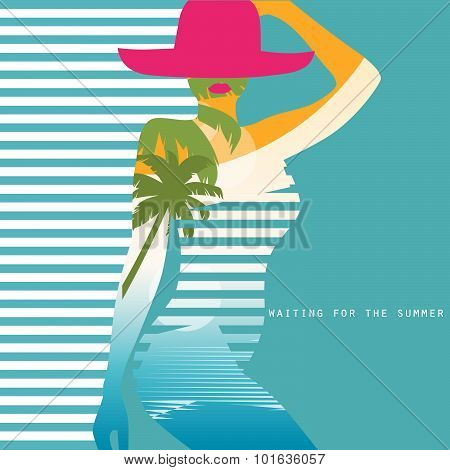 Vector Double Exposure Illustration. Woman In Swimsuit