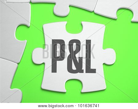 P and L - Profit and Loss - Jigsaw Puzzle with Missing Pieces. Bright Green Background. Close-up. 3d Illustration. poster