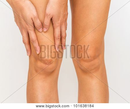 Accident for legs and bodypart on white background. poster