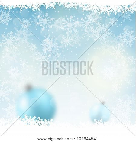 christmas background, blurred blue balls in snow, illustration