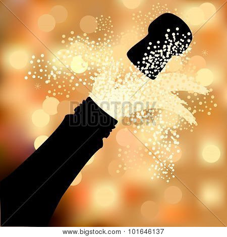 Bottle Of Champagne To Spray On A Abstract Background