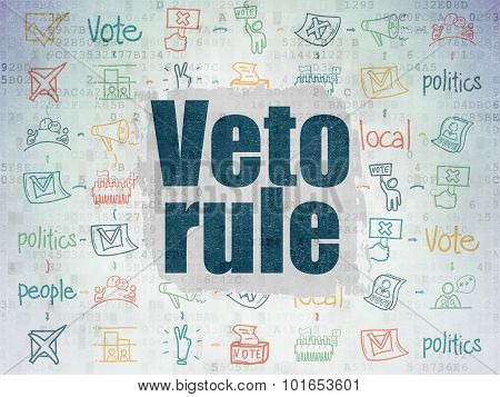 Politics concept: Painted blue text Veto Rule on Digital Paper background with  Scheme Of Hand Drawn Politics Icons poster