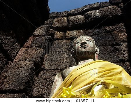 Buddha portrait on Castle Rock at chonburi
